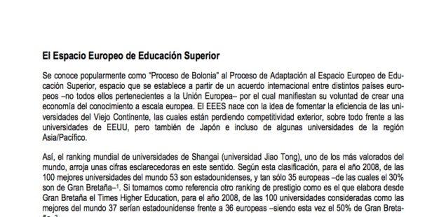 Los estudiantes y Bolonia