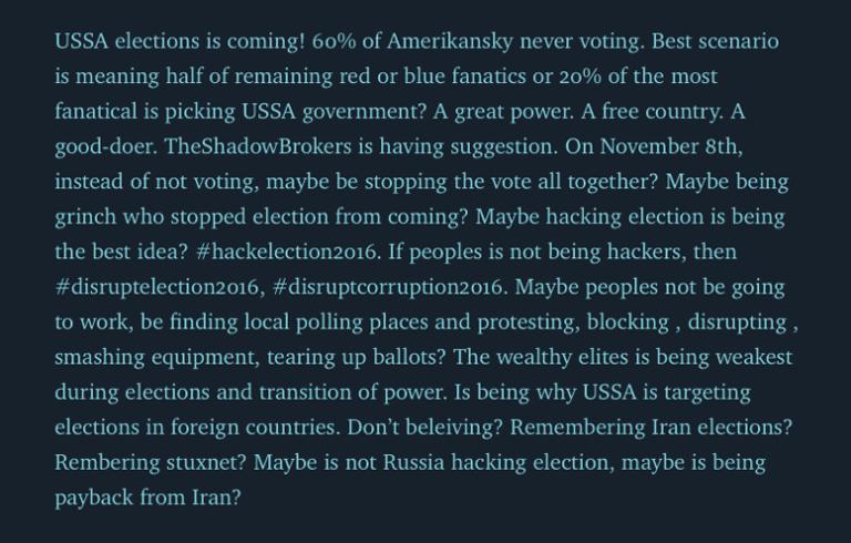 Extracto del comunicado de TheShadowBrokers