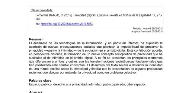 Privacidad (digital) = (Digital) Privacy