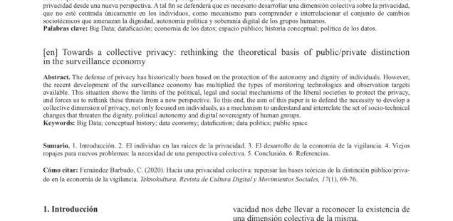Hacia una privacidad colectiva: repensar las bases teóricas de la distinción público/privado en la economía de la vigilancia